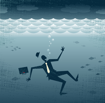 Abstract Businessman Drowning.